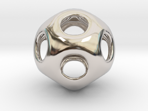 Conway Polyhedron {lseehD} in Rhodium Plated Brass