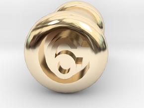 6 Gauge Ear Tunnel Engraved in 14K Yellow Gold