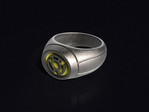Yellow Lantern Ring in Polished Bronzed Silver Steel