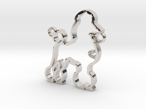 Poodle pendant in Rhodium Plated Brass