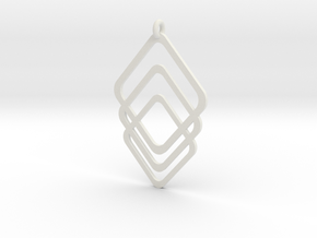 Rombs Pendant in White Natural Versatile Plastic