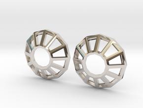 Rhinestone Wireframe Earrings in Rhodium Plated Brass