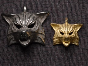 Fox Small Pendant in Polished Bronzed Silver Steel