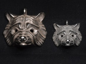 Raccoon Pendant in Polished Bronzed Silver Steel