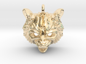 Raccoon (angry) Small Pendant in 14k Gold Plated Brass