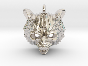 Raccoon (angry) Small Pendant in Rhodium Plated Brass