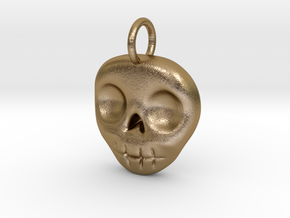 Skull Necklace/Earring pendant in Polished Gold Steel