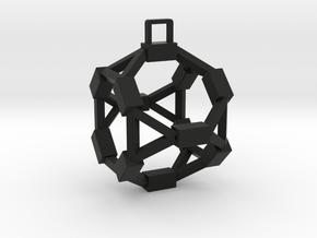 Pentagon Rectangular Pendant in Black Natural Versatile Plastic