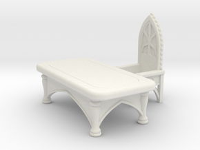 Gothic Desk with Chair. Set 1 in White Natural Versatile Plastic