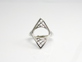 Parabolic Suspension Ring - US Size 09 in Polished Silver