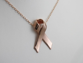Classic Awareness/Cancer Ribbon Pendant in 14k Rose Gold Plated Brass