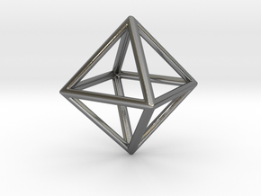 Octahedron LG in Fine Detail Polished Silver