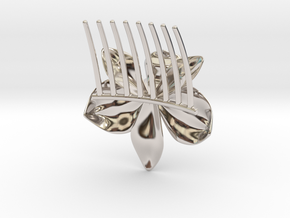 Orchid Comb in Rhodium Plated Brass
