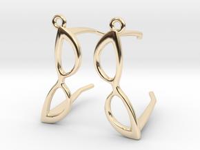 Cateye Glasses Earrings - 3D in 14k Gold Plated Brass