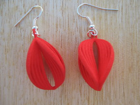 Five Flat Coils Earrings in Red Processed Versatile Plastic