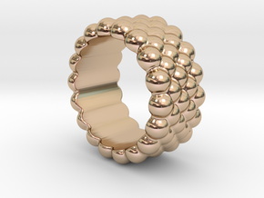 Bubbles Round Ring 17 – Italian Size 17 in 14k Rose Gold Plated Brass
