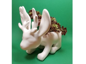 Jackalope Planter in Gloss White Porcelain