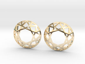 Diamond Wireframe Top Earrings in 14K Yellow Gold