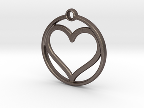 heart in circle in Polished Bronzed Silver Steel