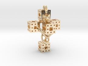 Crucifixum Fractalum Mathematicae - Argentum Unum in 14k Gold Plated Brass