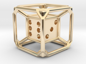 d6 Dice Pendant in 14K Yellow Gold