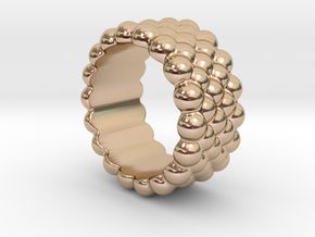 Bubbles Round Ring 24 – Italian Size 24 in 14k Rose Gold Plated
