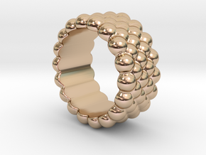 Bubbles Round Ring 26 – Italian Size 26 in 14k Rose Gold Plated Brass
