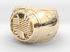 America Ring 24mm in 14k Gold Plated Brass