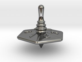 Spinning Top in Fine Detail Polished Silver