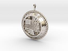 America Medalion in Rhodium Plated Brass