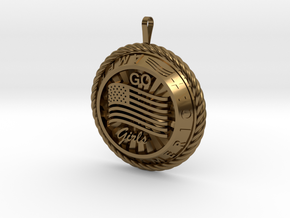 America Medalion Go Girls in Polished Bronze
