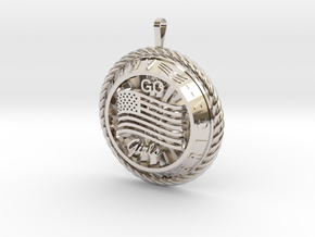 America Medalion Go Girls in Rhodium Plated Brass