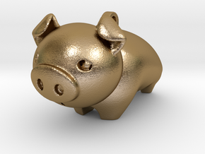 Cute Piggy in Polished Gold Steel