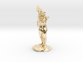 Female Half Orc Barbarian with Axe in 14K Yellow Gold