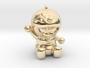 Doraemon 3D KeyChain & Pencil Cover in 14k Gold Plated Brass