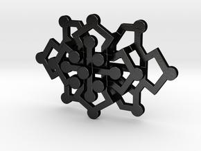 Geo Floral Pendant in Matte Black Steel
