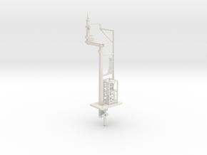 NSWGR 7mm Scale LQ LH Offset Bracket Signal + Part in White Natural Versatile Plastic