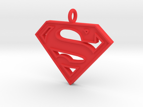 Superman Necklace in Red Processed Versatile Plastic