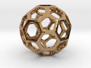 Truncated Icosahedron pendant in Polished Brass