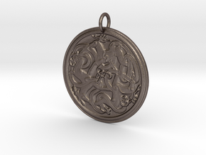 Norse Dear Medallion in Polished Bronzed Silver Steel