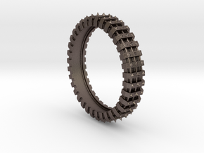Spiked Gear Ring - Size 8 in Polished Bronzed Silver Steel