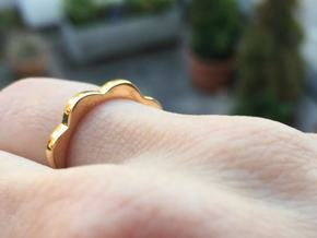Flower Power Ring S/M 17mm in Polished Bronze