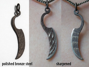 Woman's Knife 1 Pendant in Polished Bronze Steel