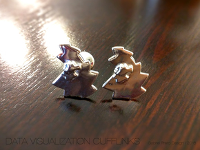 Data Visualization Cufflinks  in Polished Silver