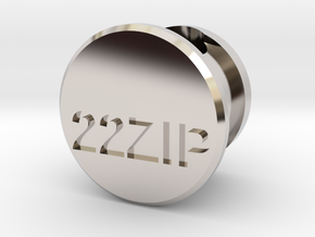 22 Zipper Mag Tube Plug in Rhodium Plated Brass