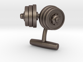 Dumbbell Weights Cufflinks in Polished Bronzed Silver Steel