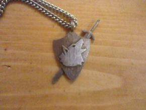 Shield Pendant in Polished Bronzed Silver Steel