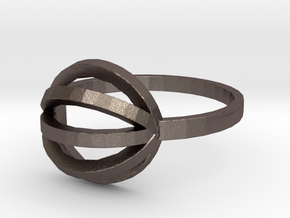 String Theory Ring - Size 7.5 in Polished Bronzed Silver Steel: 7.5 / 55.5