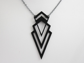 Art Deco Pendant - Valorous in Black Natural Versatile Plastic