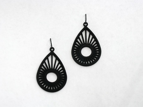 Sunrise Pear - Earrings in Black Natural Versatile Plastic